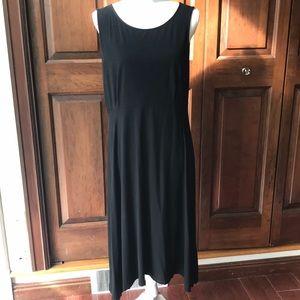 Eileen Fisher Sz L black midi maxi stretch dress